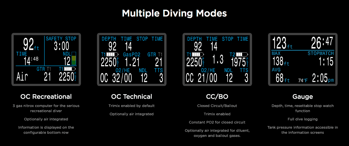 Shearwater Perdix AI Diving Modes