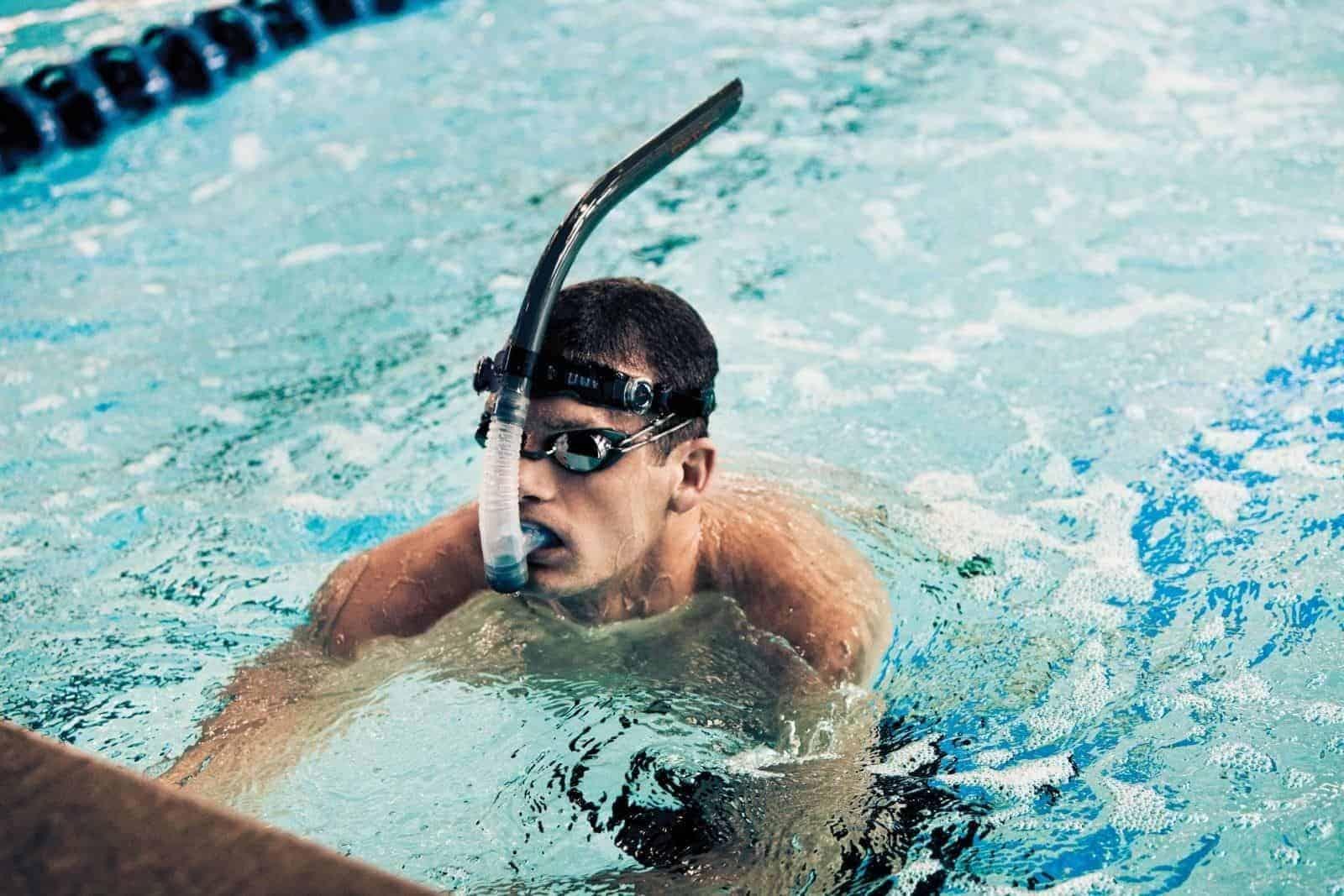 Center Mounted Lap Swimming Snorkels
